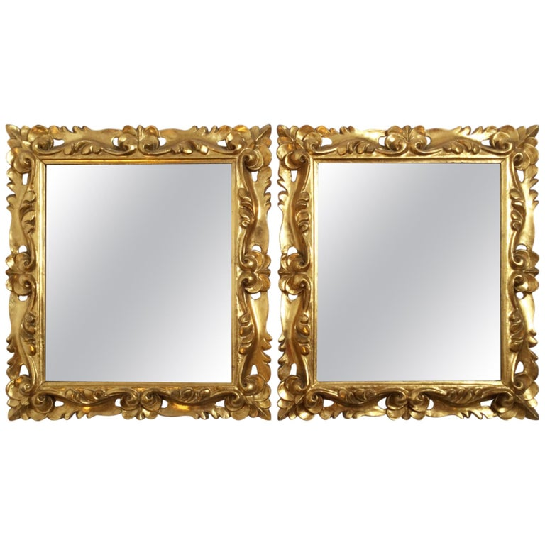 Early 20th Century Pair of Italian Gold Gilt Carved Wood Mirrors For Sale