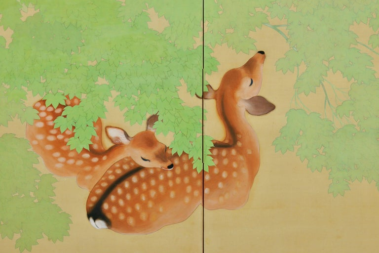 Taisho Early 20th Century Pair of Japanese Folding Screens, Deer Under Maple Trees For Sale