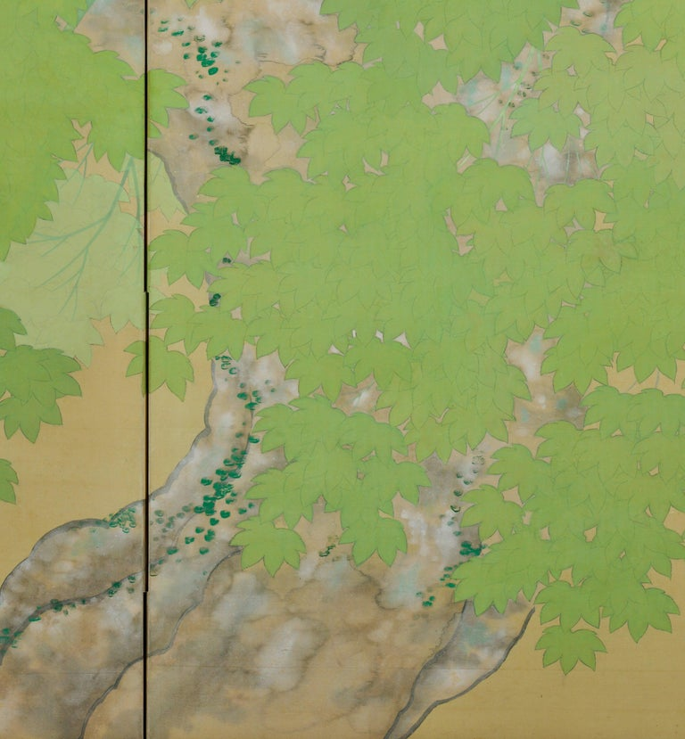 Silk Early 20th Century Pair of Japanese Folding Screens, Deer Under Maple Trees For Sale