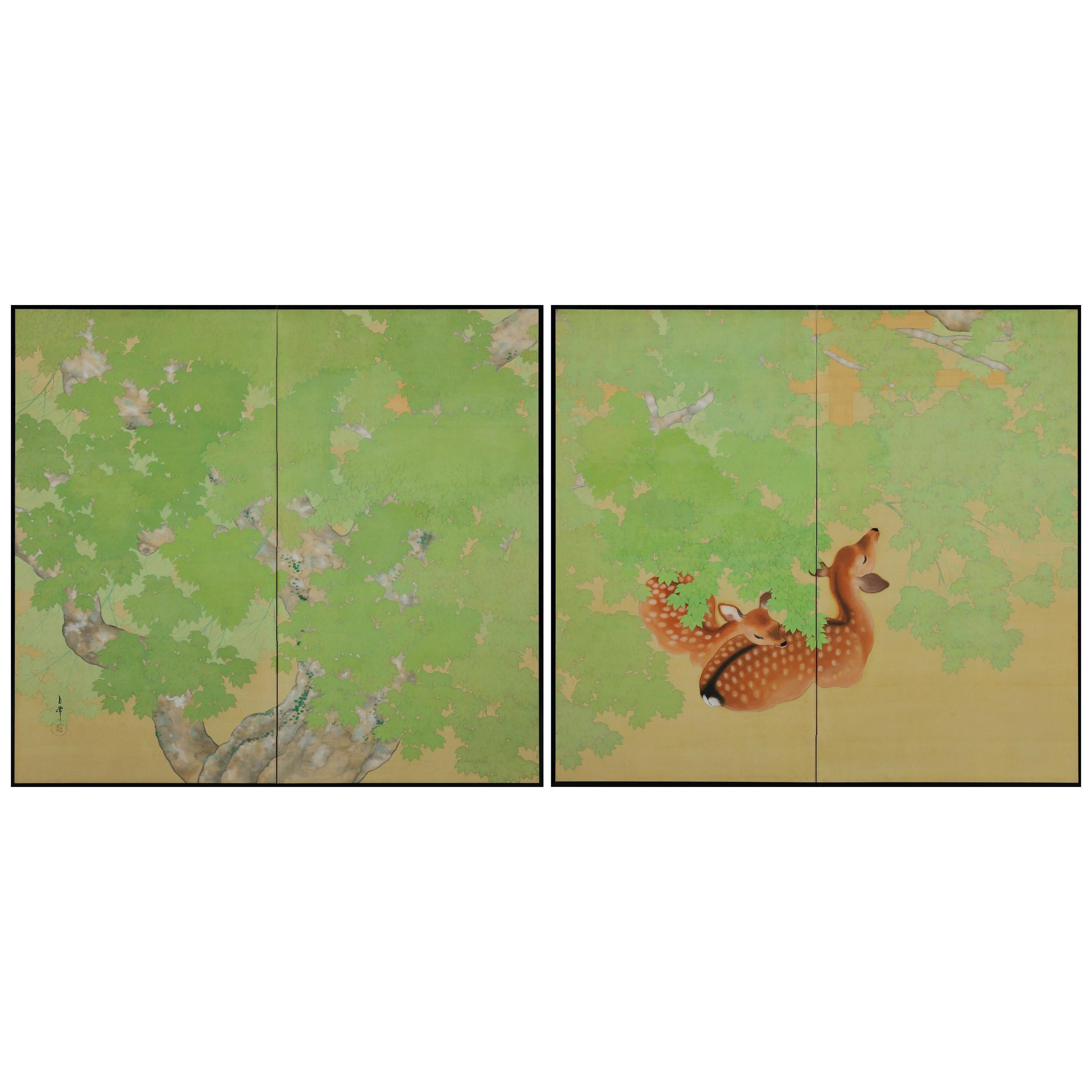 Early 20th Century Pair of Japanese Folding Screens, Deer Under Maple Trees