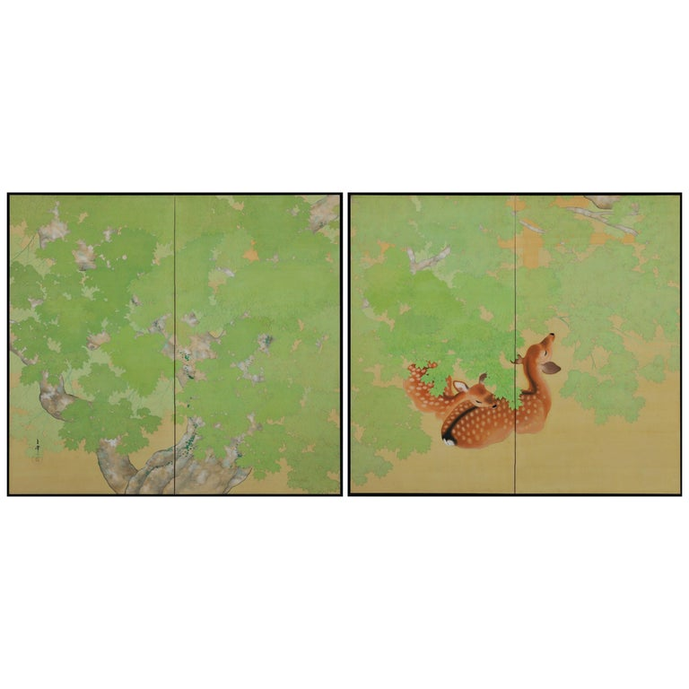Early 20th Century Pair of Japanese Folding Screens, Deer Under Maple Trees For Sale