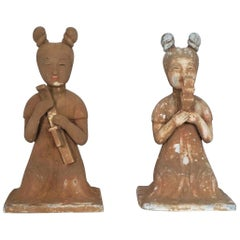 Early 20th Century Pair of Japanese Handcrafted Terracotta Female Sculptures
