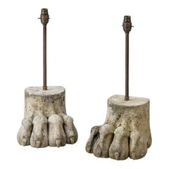 Early 20th Century Pair of Large Carved Lion Paw Lamps