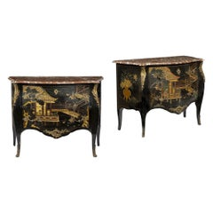 Pair of Louis XV Style Marble-Top Coromandel Black Lacquer Commode