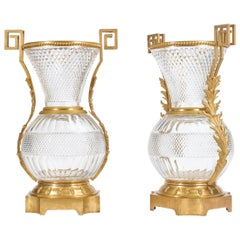 Early 20th Century Pair of Monumental French Ormolu-Mounted Cut Crystal Vases