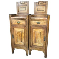 Early 20th Century Pair of Nightstands Walnut with Pink Marble