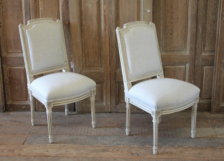 Early 20th Century Pair of Painted and Upholstered Louis XVI Style Childs Chairs For Sale 6