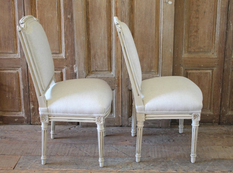 Early 20th Century Pair of Painted and Upholstered Louis XVI Style Childs Chairs For Sale 7