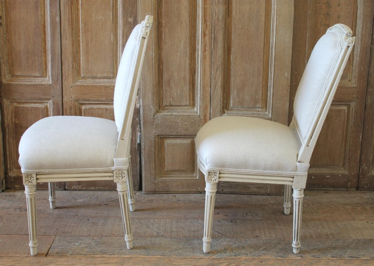 Early 20th Century Pair of Painted and Upholstered Louis XVI Style Childs Chairs For Sale 8