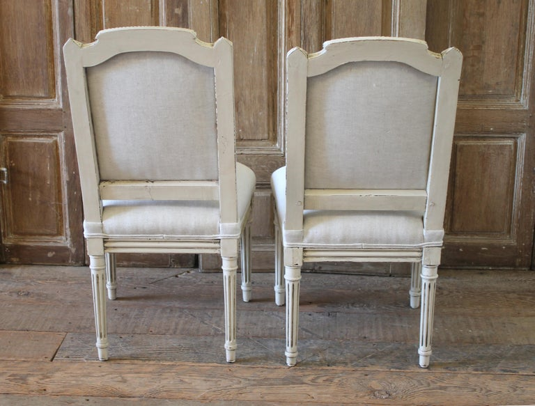 Early 20th Century Pair of Painted and Upholstered Louis XVI Style Childs Chairs For Sale 9
