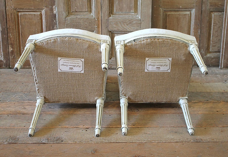 Early 20th Century Pair of Painted and Upholstered Louis XVI Style Childs Chairs For Sale 10