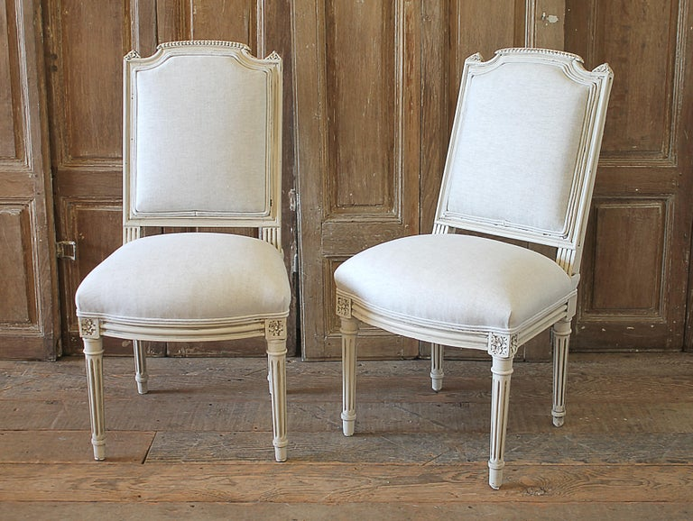 European Early 20th Century Pair of Painted and Upholstered Louis XVI Style Childs Chairs For Sale