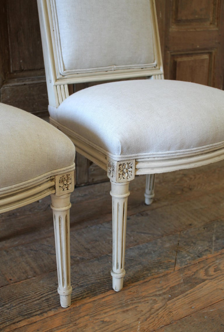 Early 20th Century Pair of Painted and Upholstered Louis XVI Style Childs Chairs For Sale 3
