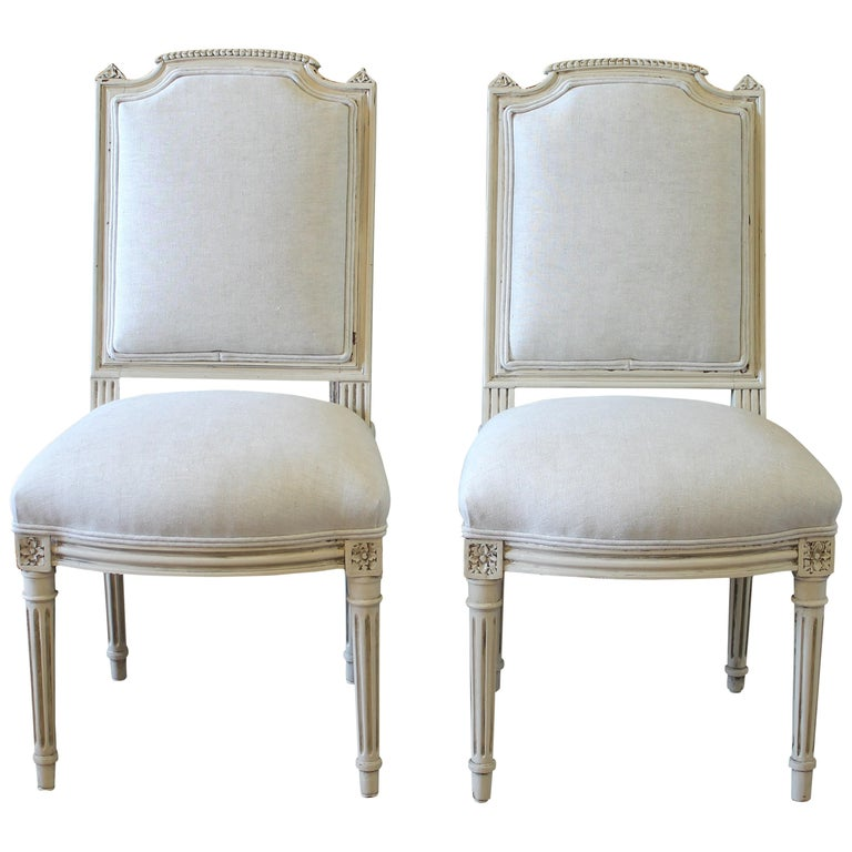 Early 20th Century Pair of Painted and Upholstered Louis XVI Style Childs Chairs For Sale