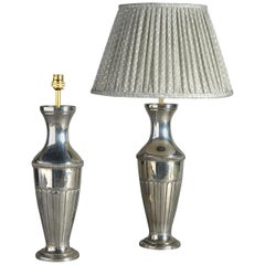 Early 20th Century Pair of Silvered Vase Lamps