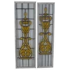 Early 20th Century Pair of Tall Leaded Stained Glass Panels