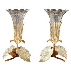 Early 20th Century Pair of Vases in Glass, Gilt and Silvered Brass