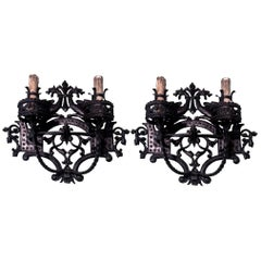 Early 20th Century Pair of Wall Sconces with Wrought Iron in Black