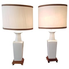 Early 20th Century, Pair of White Ceramic Table Lamps Chinoiserie