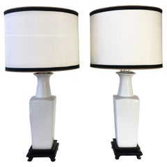 Early 20th Century Pair of White Ceramic Table Lamps Chinoiserie