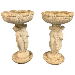 Early 20th Century Pair of White Washed Stone Garden Urns with Figure Columns