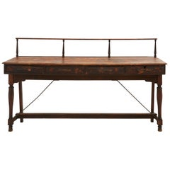 Early 20th Century Patinaed Wood Bank Desk