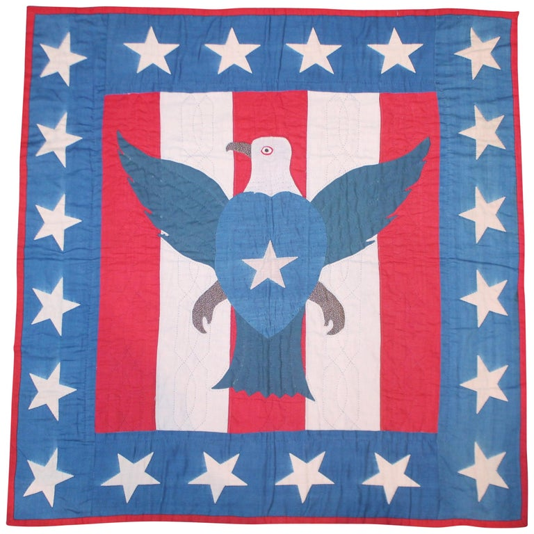 Early 20th Century Patriotic Eagle Crib Quilt For Sale