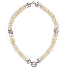 Early 20th Century Pearl and Diamond Necklace