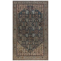 Early 20th Century Persian Bakhtiari Blue and Camel Handwoven Wool Rug