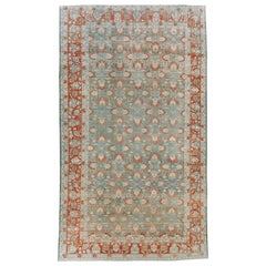 Early 20th Century Persian Bibikabad Large Oversize Carpet in Rust Red and Slate