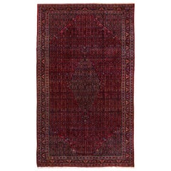 Tribal Persian Bidjar Carpet, Red Field