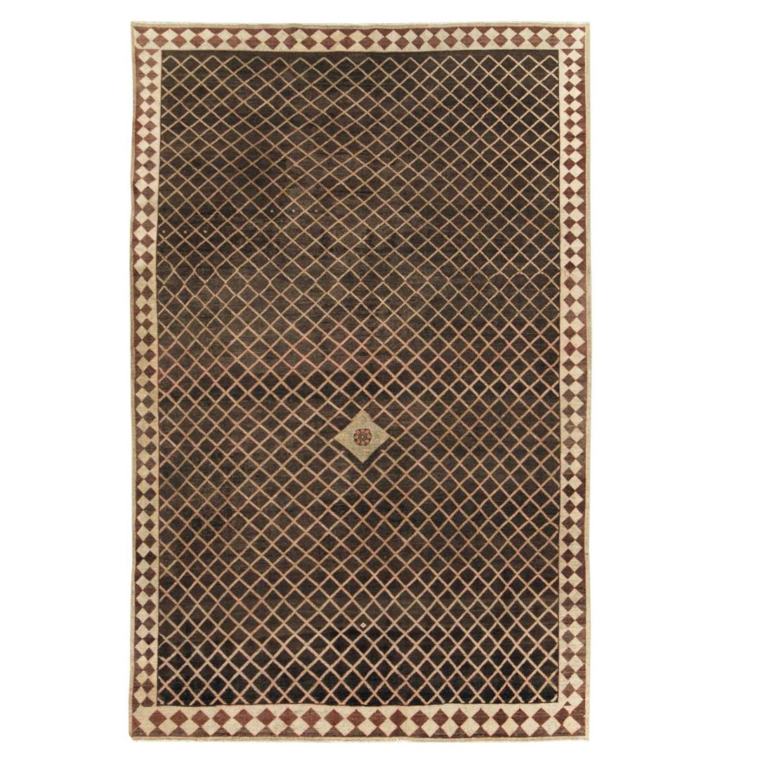 Early 20th Century Persian Handmade Tribal Accent Rug in Brown