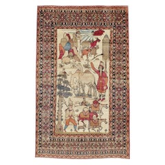 Early 20th Century Persian Kerman Pictorial Nomadic Pastoralism Accent Rug