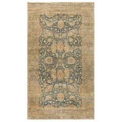 Early 20th Century Persian Kirman Indigo, Camel and Beige Handwoven Wool Rug