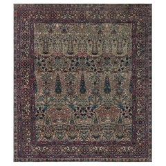 Early 20th Century Persian Kirman Wool Rug in Blue, Brown, Green, Pink and Red