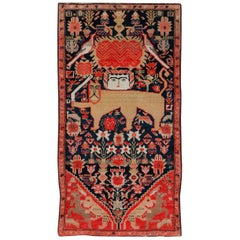 Early 20th Century Persian Lion with Sword and Sun Pictorial Malayer Throw Rug