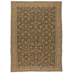 Early 20th Century Persian Malayer Brown, Beige and Blue Handmade Wool Rug