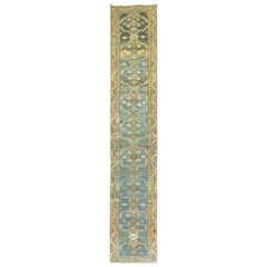Early 20th Century Persian Malayer Long Runner in Denim Blue and Brown