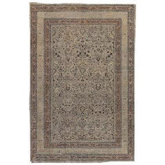 Early 20th Century Persian Meshad Camel and Brown Handwoven Wool Rug