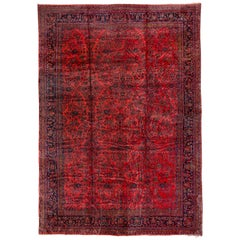 Early 20th Century Persian Red Kashan Mansion Carpet