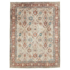 Early 20th Century Persian Room Size Carpet in Cream, Brick Red, & Blue-Green