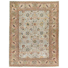 Early 20th Century Persian Sultanabad Room Size Carpet In Light Blue and Beige