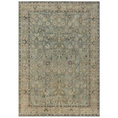Early 20th Century Persian Tabriz Blue, Brown and Gold Handwoven Wool Rug