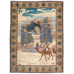 Early 20th Century Persian Tabriz Pictorial Accent Rug