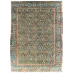 Early 20th Century Persian Tabriz Room Size Carpet in Khaki and Blue-Grey