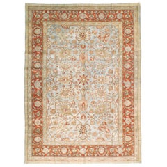 Early 20th Century Persian Tabriz Room Size Carpet in Red, Blue, and Grey