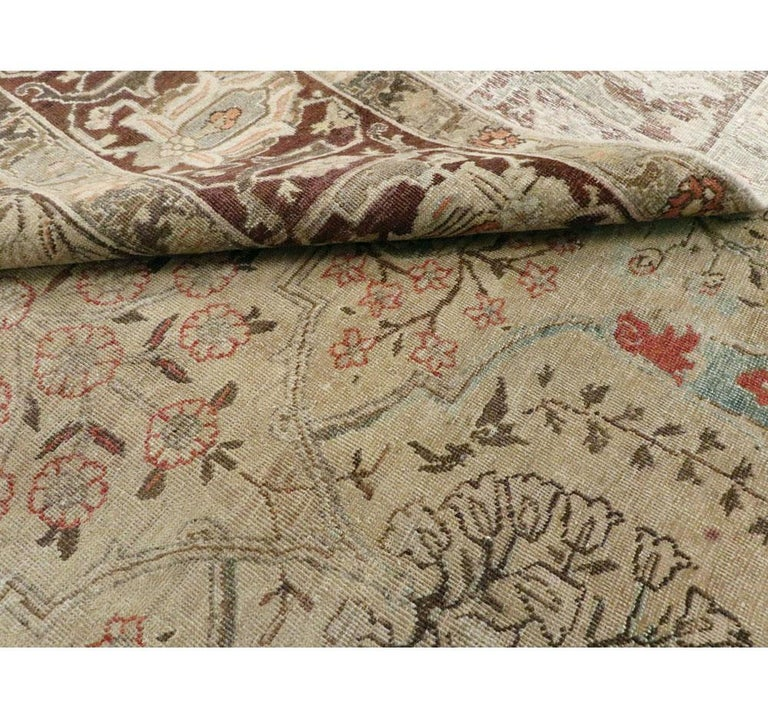 Early 20th Century Persian Tabriz Small Room Size Carpet in Maroon and Brown For Sale 4