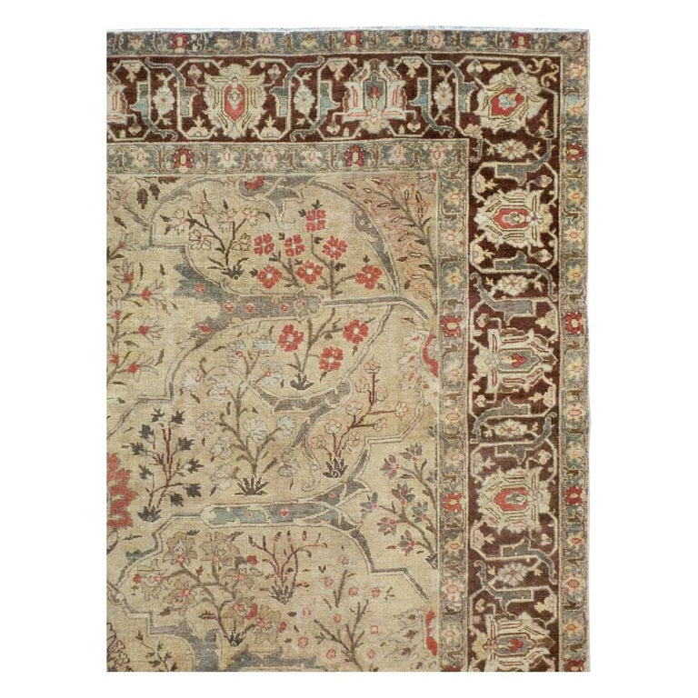 Rustic Early 20th Century Persian Tabriz Small Room Size Carpet in Maroon and Brown For Sale