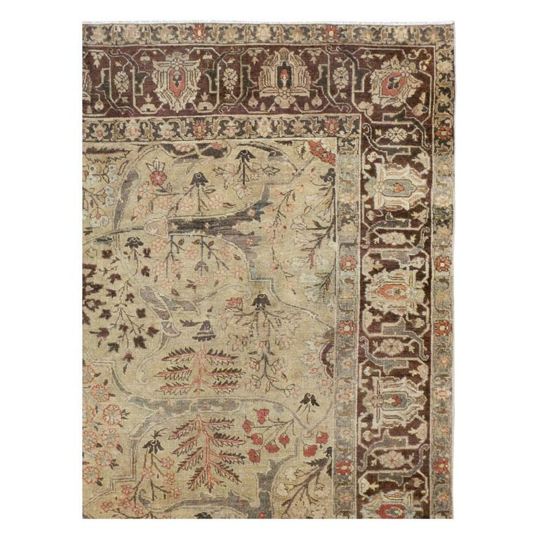 Hand-Knotted Early 20th Century Persian Tabriz Small Room Size Carpet in Maroon and Brown For Sale