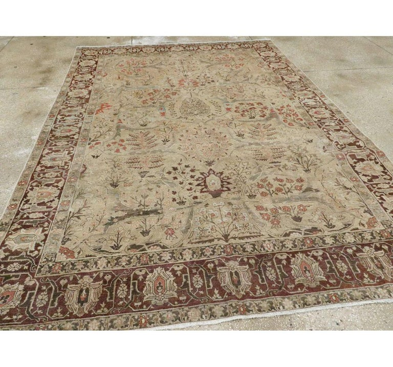 Early 20th Century Persian Tabriz Small Room Size Carpet in Maroon and Brown In Good Condition For Sale In New York, NY
